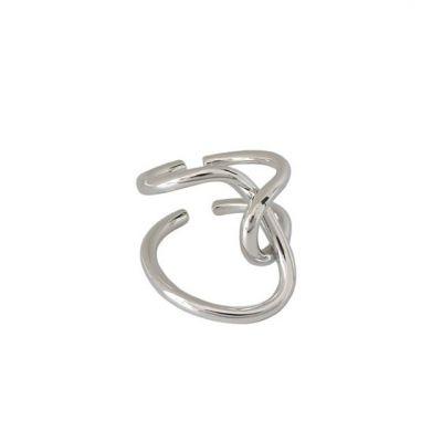 Street Irregular Line Cross 925 Sterling Silver Adjustable Ring