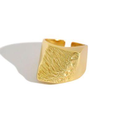 Irregular Geometry 925 Sterling Silver Adjustable Ring