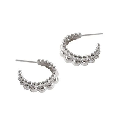 Holiday Beads Circle 925 Sterling Silver Hoop Earrings