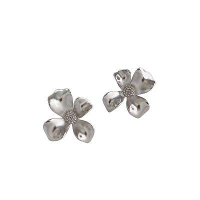 Girl Beautiful Flower 925 Sterling Silver Stud Earrings