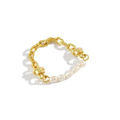Fashion Natural Pearls Chain 925 Sterling Silver Ring