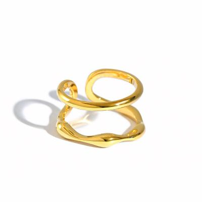 Irregular Doule Layer 925 Sterling Silver Adjustable Ring