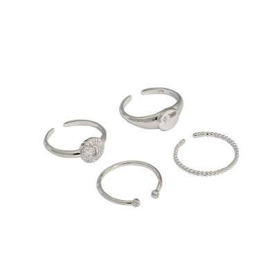 Simple Beads CZ 925 Sterling Silver Adjustable Ring