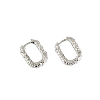 Geometry Hollow Oval 925 Sterling Silver Hoop Earrings