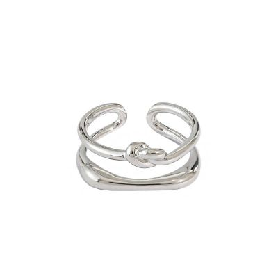 Irregular Double Layer Knot 925 Sterling Silver Adjustable Ring