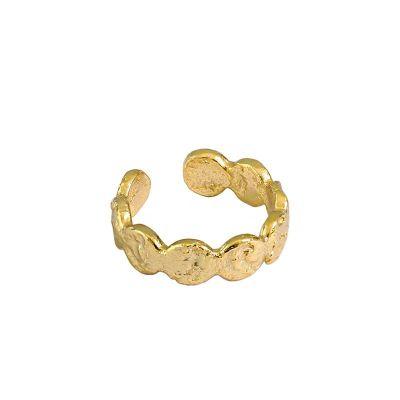 Fashion Irregular Wave Round 925 Sterling Silver Adjustable Ring