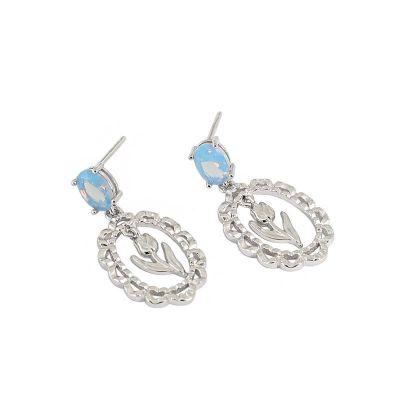Elegant Blue CZ Tulips Flower 925 Sterling Silver Dangling Earrings