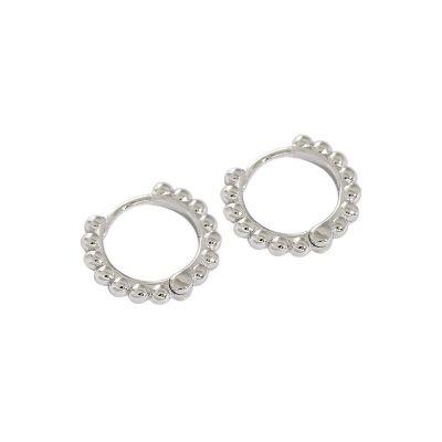 Fashion Beads Circle 925 Sterling Silver Hoop Earrings