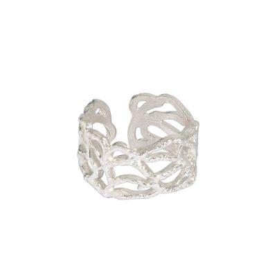 Vintage Irregular Wide Branch Texture 925 Sterling Silver Adjustable Ring