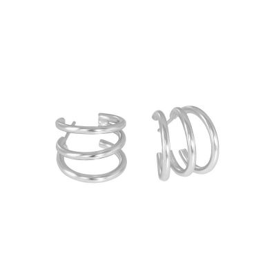 Fashion Triple Layer Lines 925 Sterling Silver Stud Earrings