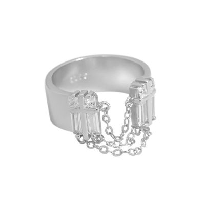 Party CZ Chain Tassels 925 Sterling Silver Adjustable Ring