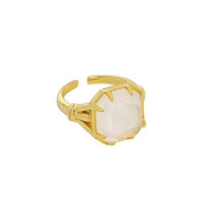 Geometry Square Natural Crystal 925 Sterling Silver Adjustable Ring
