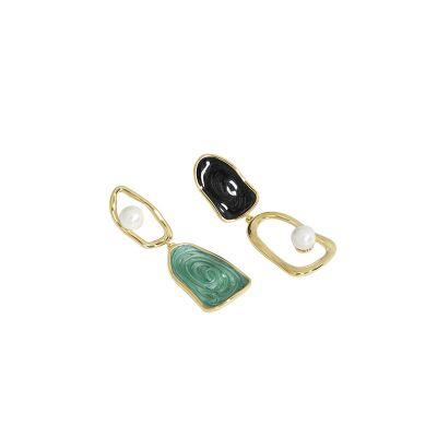 Asymmetry Shell Pearl Irregular 925 Sterling Silver Dangling Earrings