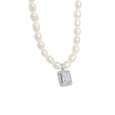 Elegant Natural Pearl Rectangle CZ 925 Sterling Silver Necklace