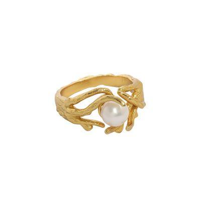 Elegant Natural Pearl Irregular 925 Sterling Silver Adjustable Ring