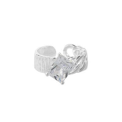 Irregular Twisted CZ Emerald 925 Sterling Silver Adjustable Ring
