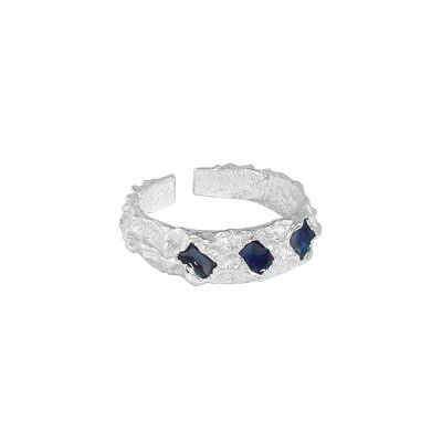 Casual Blue Epoxy Irregular 925 Sterling Silver Adjustable Ring