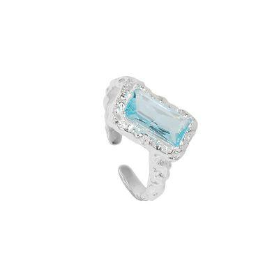 Fashion Irregular Rectangle Geometry 925 Sterling Silver Adjustable Ring