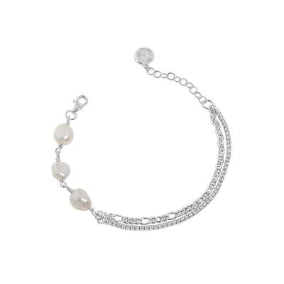 Girl Irregular Double Layer Hollow Chain Natural Pearl 925 Sterling Silver Bracelet