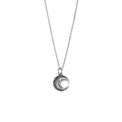 Holiday Crescent Moon Stars 925 Sterling Silver Necklace