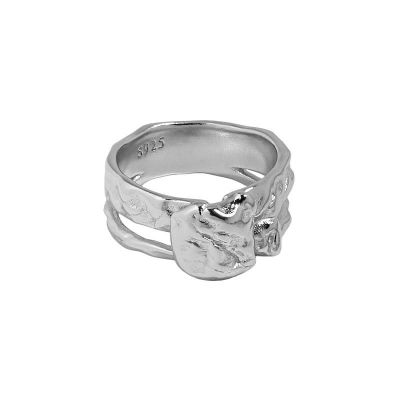 Simple Geometry Irregular 925 Sterling Silver Adjustable Ring
