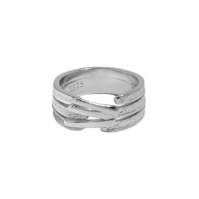 Fashion Triple Lines Wide 925 Sterling Silver Adjustable Ring