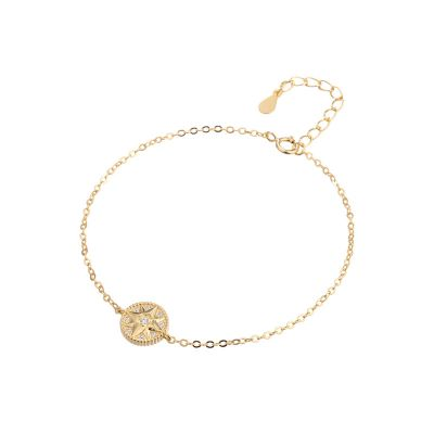 Fashion CZ Octagonal Star Compass 925 Sterling Silver Bracelet
