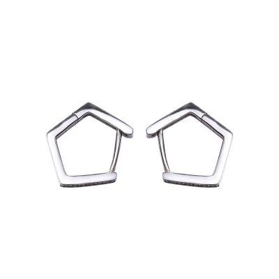Simple CZ Geometry 925 Sterling Silver Hoop Earrings