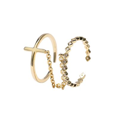 Double Cross Chain CZ 925 Sterling Silver Adjustable Ring