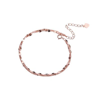 Personality Rose Gold Chain 925 Sterling Silver Bracelet