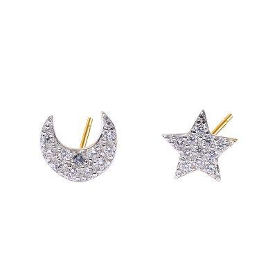 Modern CZ Crescent Moon Star 925 Sterling Silver Studs Earrings