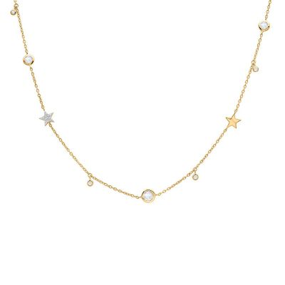 2019 New Simple CZ Stars Beads 925 Sterling Silver Necklace