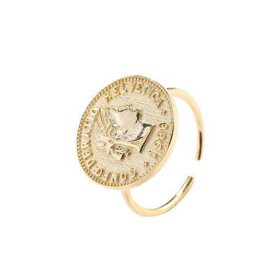 Retro Round Women Portrait 925 Sterling Silver Adjustable Ring