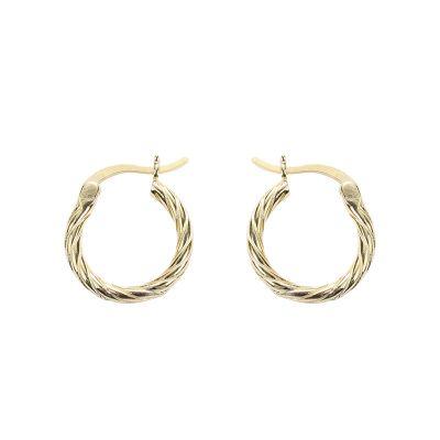 Simple Twisted Circles 925 Sterling Silver Hoop Earrings
