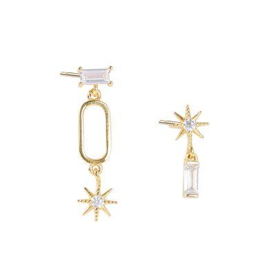 Asymmetric CZ Octagonal Star 925 Sterling Silver Dangling Earrings