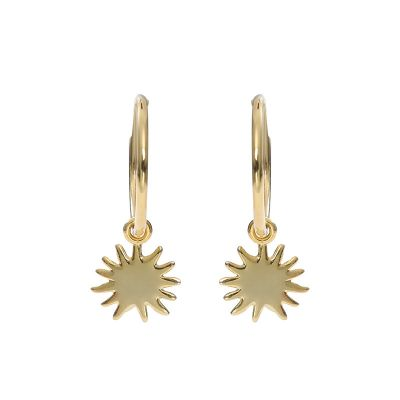Office Yellow Gold Sun 925 Sterling Silver Hoop Earrings