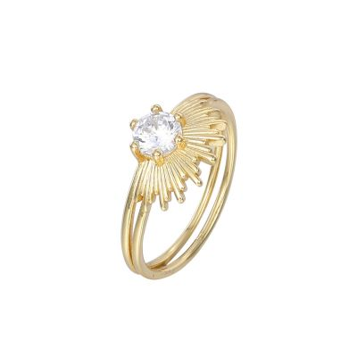 Party CZ Sunshine Double Layer 925 Sterling Silver Ring