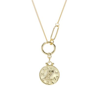 Fashion Yellow Gold Round Tag Owl 925 Sterling Silver Necklace