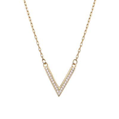 Office Micro Setting CZ V Shape 925 Sterling Silver Necklace
