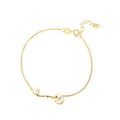 Women Round Shell Pearl 925 Sterling Silver Bracelet