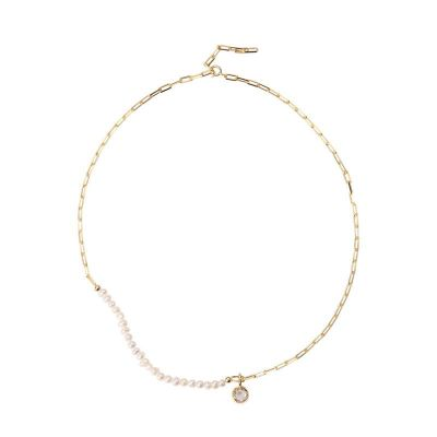Irregular Natural Pearls Round CZ 925 Sterling Silver Necklace
