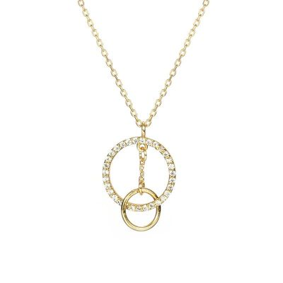 Honey Moon Geometry Double Circles CZ 925 Sterling Silver Necklace