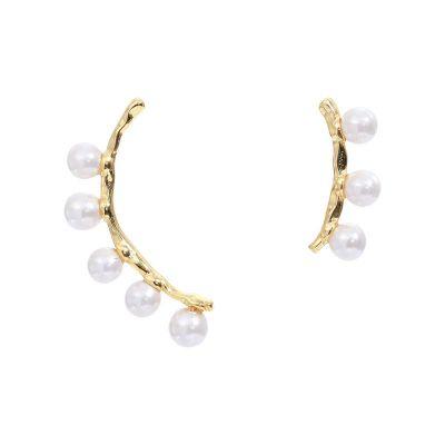Asymmetry Shell Pearls 925 Sterling Silver Stud Earrings