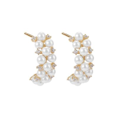 Fashion Shell Pearl CZ C Shape 925 Sterling Silver Dangling Earrings