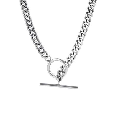 Vintage Hollow Chain OT 925 Sterling Silver Necklace