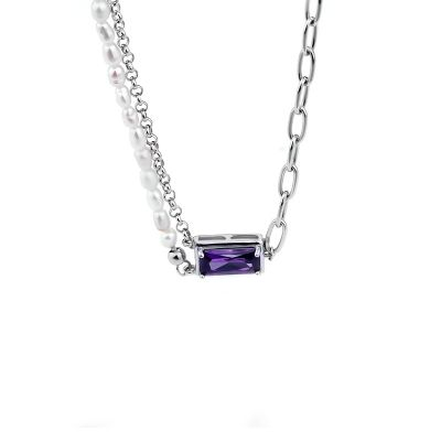 Women Natural Pearl Purple CZ Rectangle Hollow 925 Sterling Silver Necklace