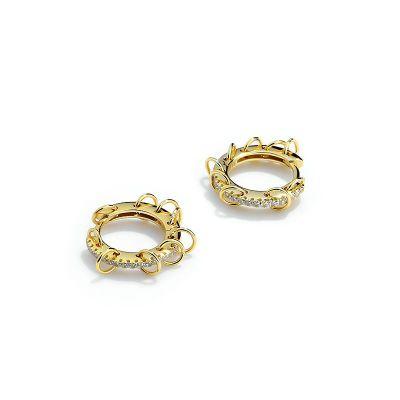 Geometry Circles CZ 925 Sterling Silver Hoop Earrings