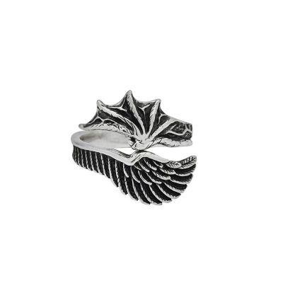 Men Angelic Demon 925 Sterling Silver Adjustable Ring