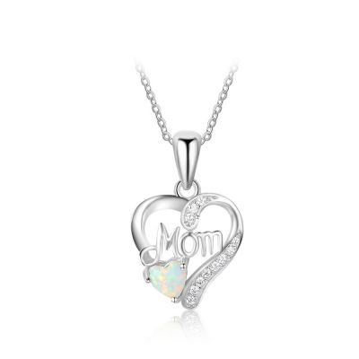 Heart Mom White Created Opal 925 Sterling Silver CZ Necklace
