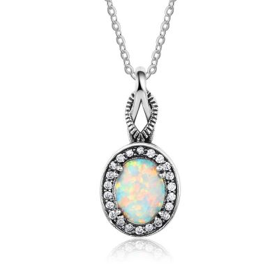 Oval Created Opal CZ 925 Sterling Silver Necklace